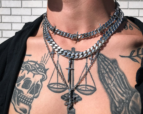 Barbed Wire Cuban Link Necklace