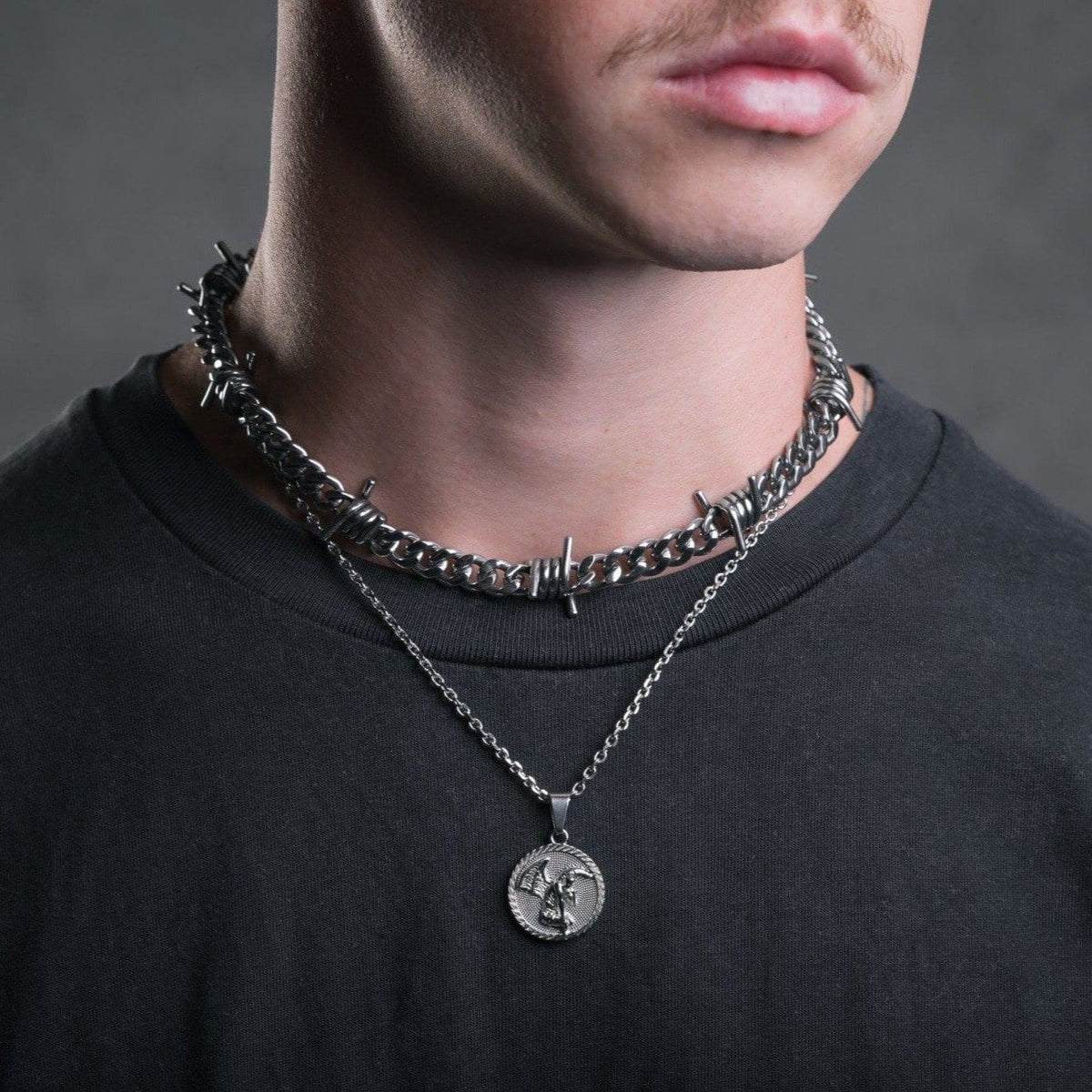 Fallen Angel Medallion Pendant Mens Necklace by Statement_05