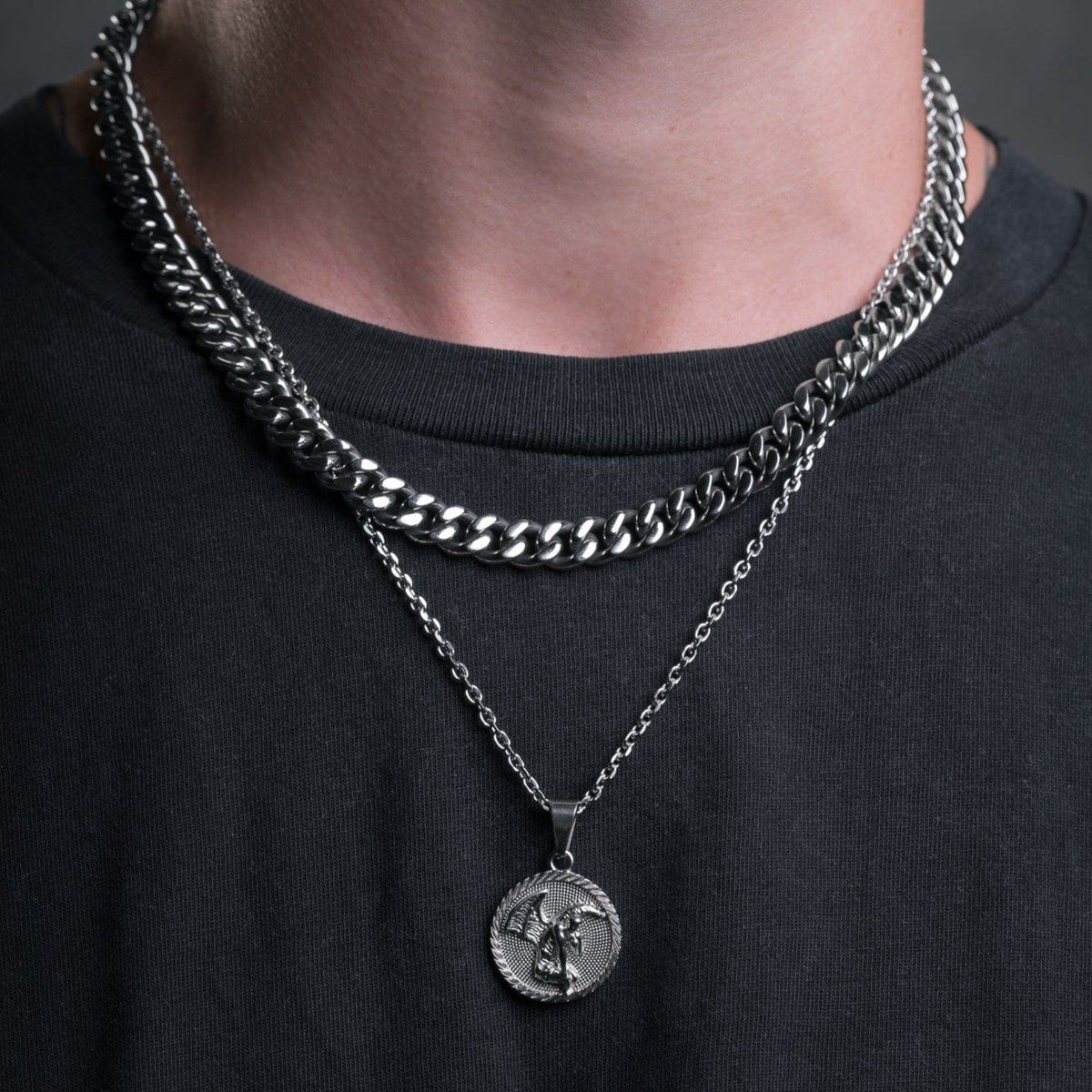 Fallen Angel Medallion Pendant Mens Necklace by Statement_06