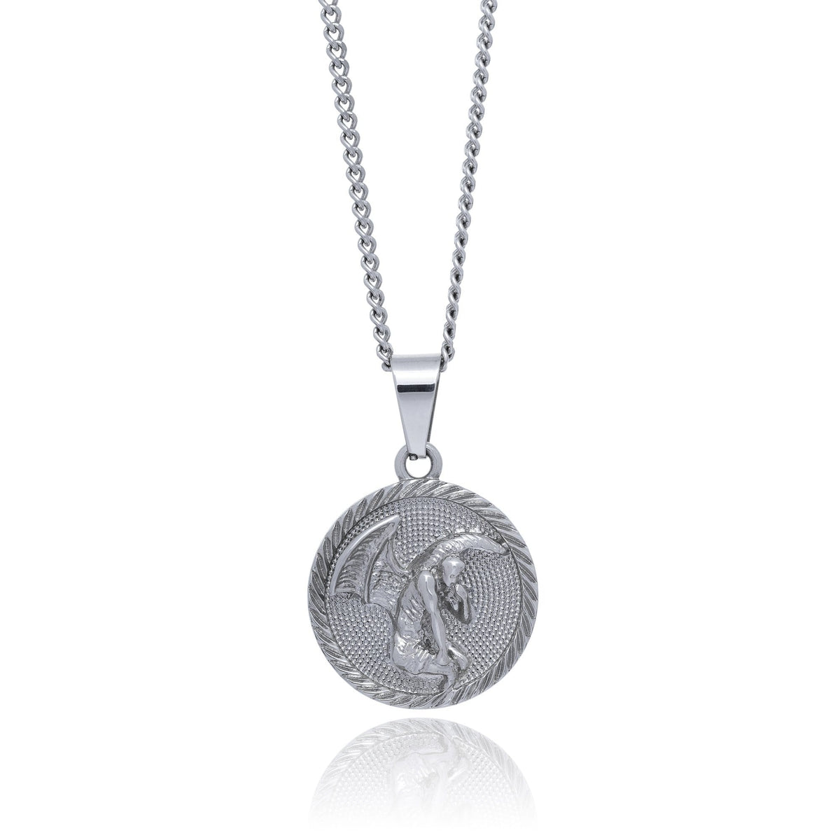 Fallen Angel Medallion Pendant Mens Necklace by Statement_02