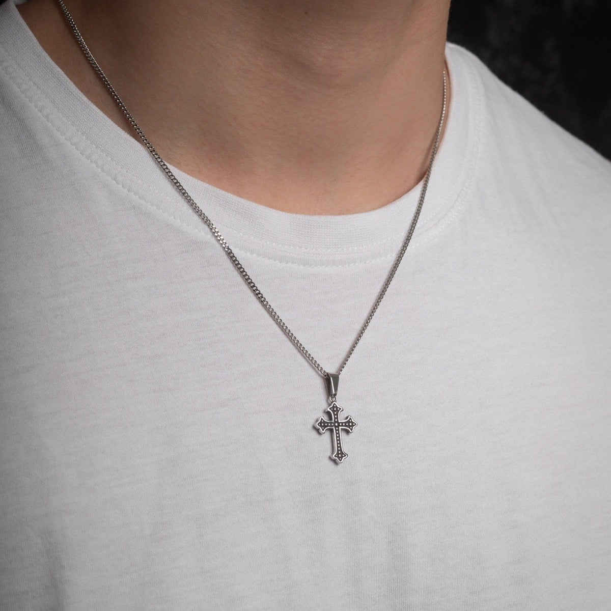 French Cross Pendant Necklace - STATEMENT
