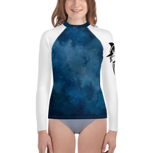 Load image into Gallery viewer, 8-20yrs old Deep Blue Sharks Rash Guard Unisex - Periwinkle Baby