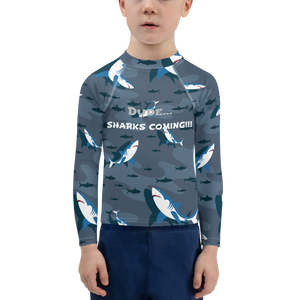 Sharks Attack Boys Rash Guard UPF - Periwinkle Baby