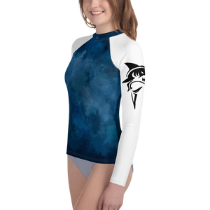 8-20yrs old Deep Blue Sharks Rash Guard Unisex - Periwinkle Baby