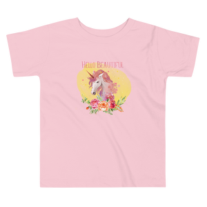 Hello Beautiful Unicorn Toddler T-shirt - Periwinkle Baby