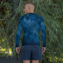 Load image into Gallery viewer, Deep Blue Shark Men's Rash Guard - Periwinkle Baby