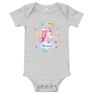 Little Dreamer Unicorn Baby Onesie - Periwinkle Baby
