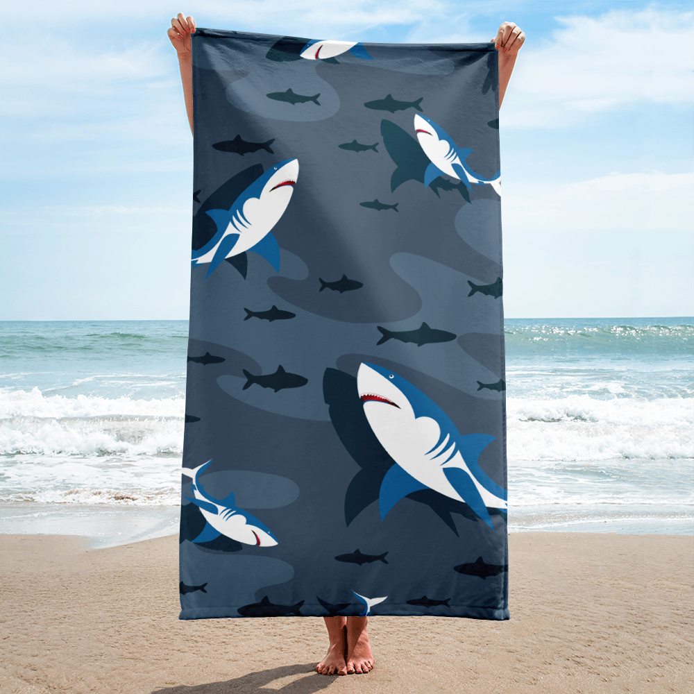 Shark Attack Sublimation Towel - Periwinkle Baby