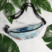 Load image into Gallery viewer, Beautiful Tsuru Oriental Crane Water-resistant Fanny Pack - Periwinkle Baby
