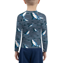 Load image into Gallery viewer, Sharks Attack Boys Rash Guard UPF - Periwinkle Baby