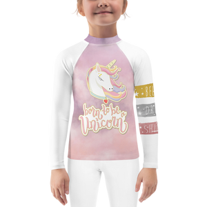 Dreamscape Unicorn Girls Rash Guard UPF - Periwinkle Baby