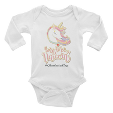 Load image into Gallery viewer, Unicorn Long Sleeve Bodysuit (Customize #name on front) - Periwinkle Baby