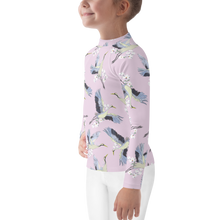 Load image into Gallery viewer, Tsuru Japanese Floral and Crane Kids Rash Guard UPF - Periwinkle Baby
