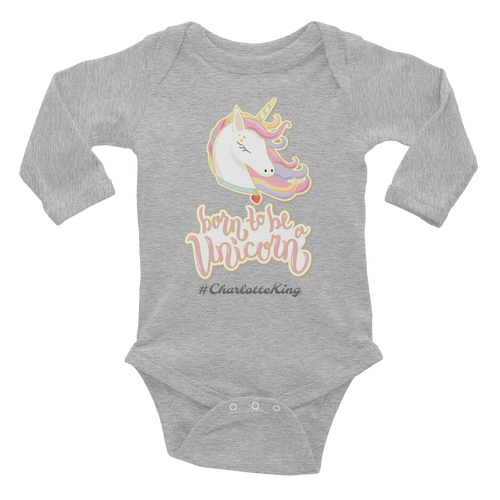 Unicorn Long Sleeve Bodysuit (Customize #name on front) - Periwinkle Baby