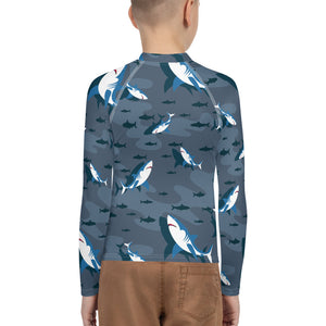 8-20yrs old Sharks Attack Boys Rash Guard - Periwinkle Baby