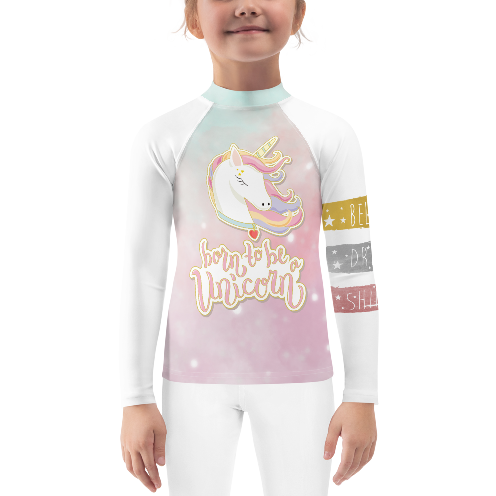 Girls Stardust Unicorn Rash Guard UPF - Periwinkle Baby