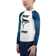 Load image into Gallery viewer, Blue Ocean Shark Attack Boys Rash Guard - Periwinkle Baby