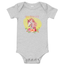Load image into Gallery viewer, Hello Beautiful Unicorn Baby Onesie - Periwinkle Baby