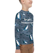 Load image into Gallery viewer, 8-20yrs old Sharks Attack Boys Rash Guard - Periwinkle Baby