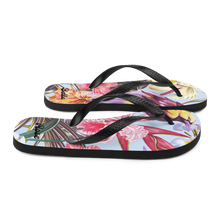 Load image into Gallery viewer, Exotic Tropical Bird Paradise Flip Flops (Customize #name) - Periwinkle Baby