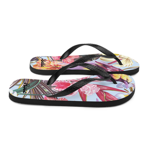 Exotic Tropical Bird Paradise Flip Flops (Customize #name) - Periwinkle Baby