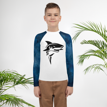 Load image into Gallery viewer, 8-20 yrs old Sharks Rash Guard for Boys and Girls - Periwinkle Baby