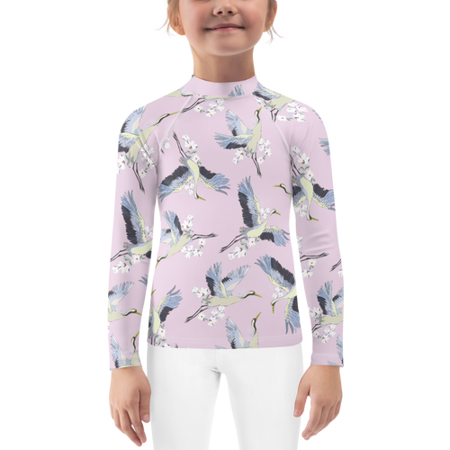 Tsuru Japanese Floral and Crane Kids Rash Guard UPF - Periwinkle Baby