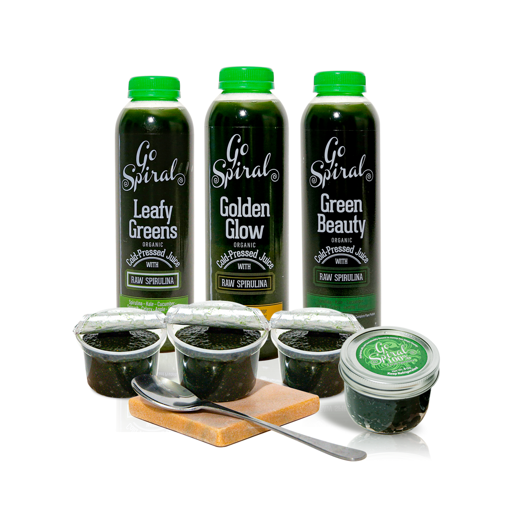 All Products - 3 Juices | 3 Chia Puddings | Jar of Fresh Spirulina