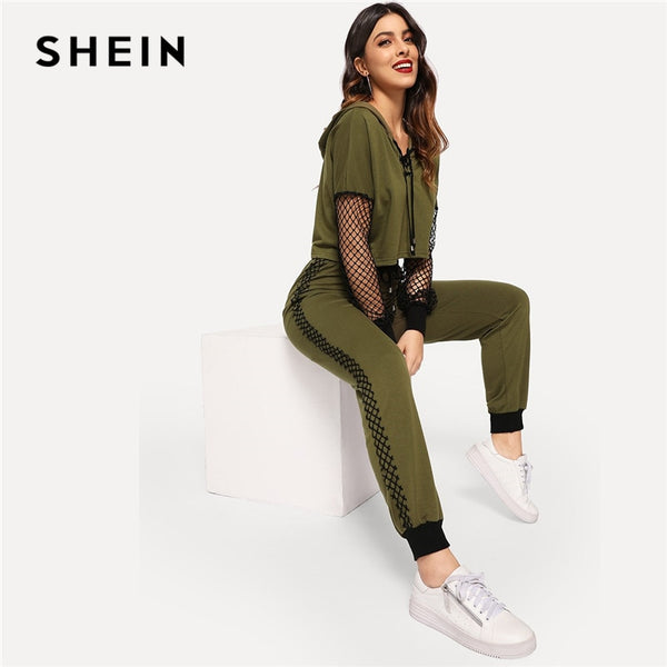 SHEIN Athleisure Green Fishnet Sleeve Lace up Hoodie Crop Top and Sweatpants Set Women Spring Sporting Workout Two Piece Sets