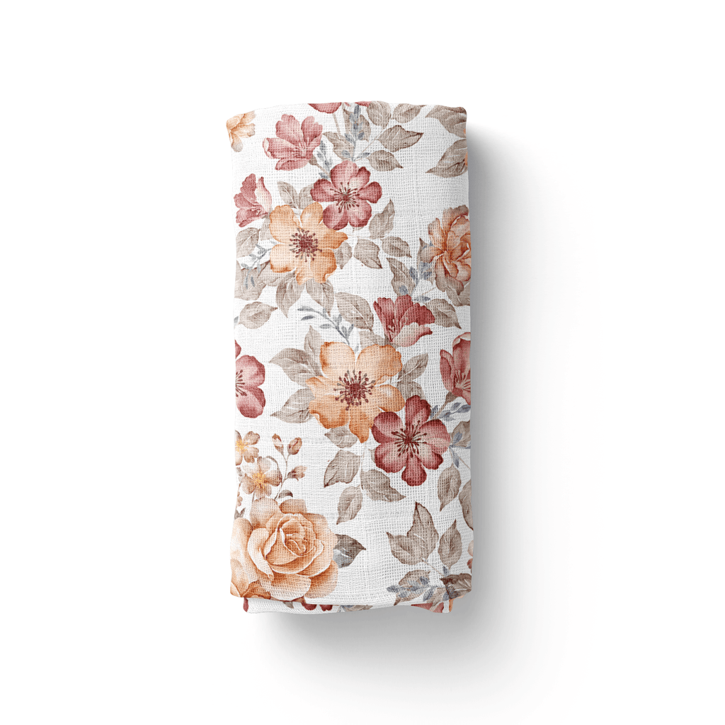 Sunset Floral White Swaddle