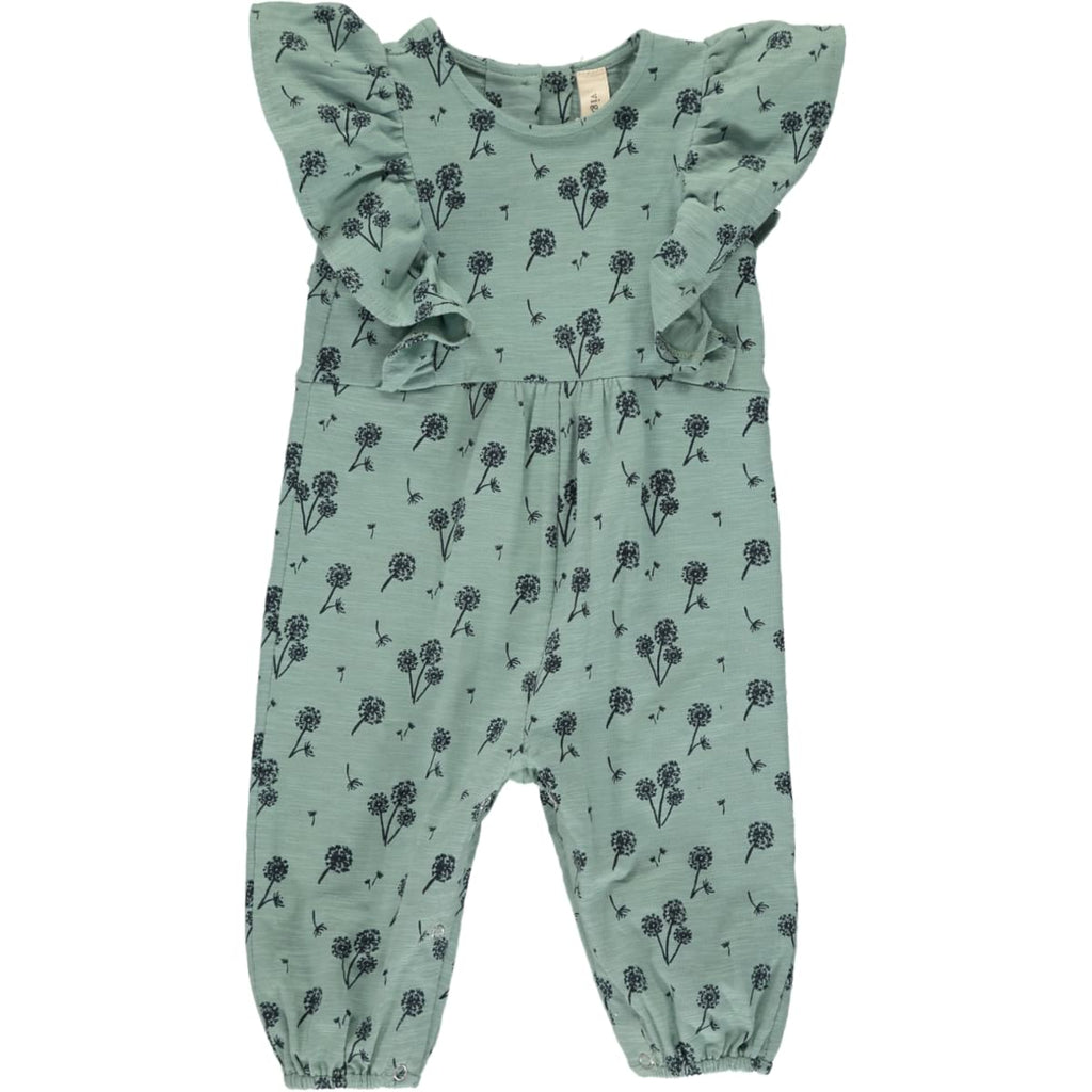 Gracie Long Sleeve Romper - Teal Dandelion