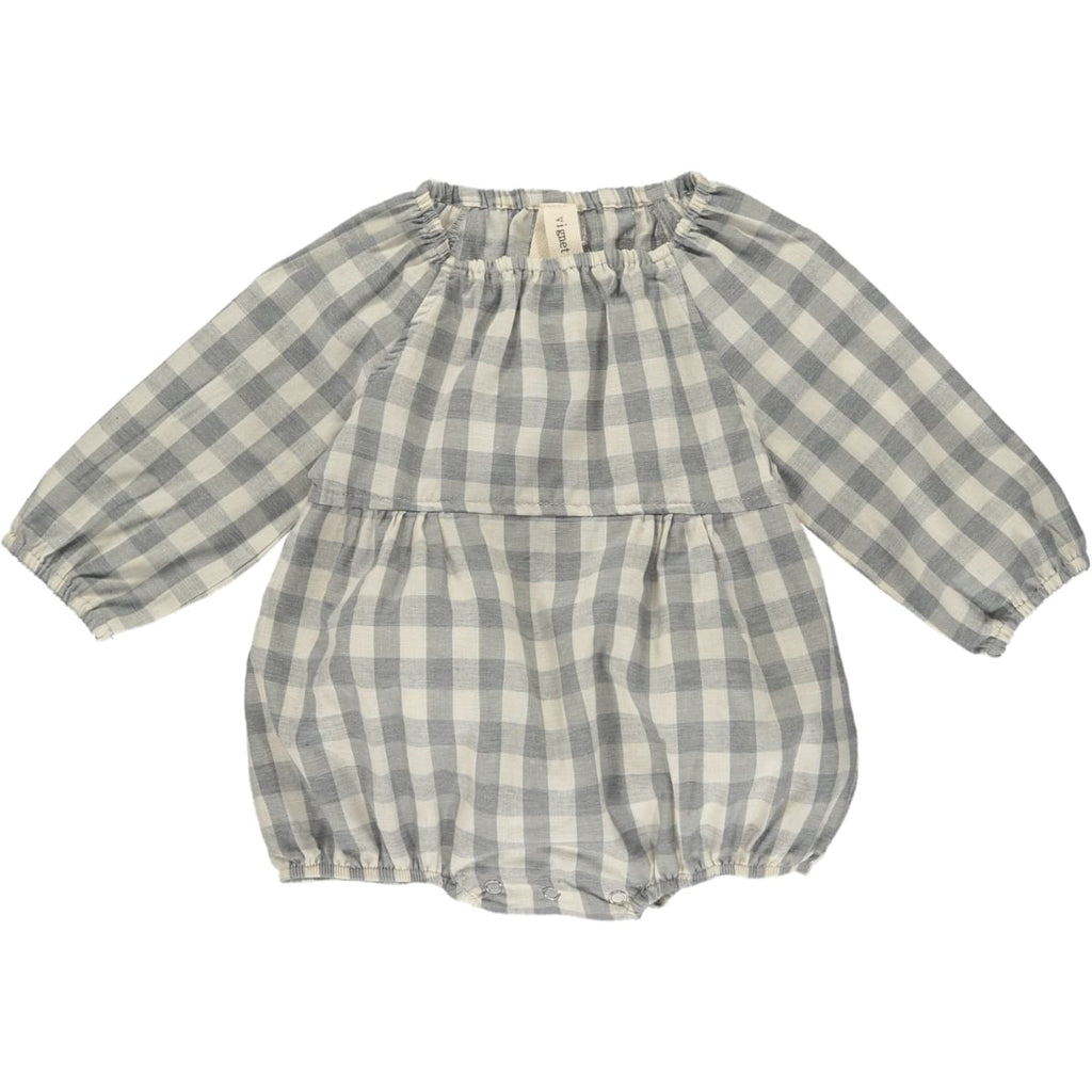Checkered Bubble Romper - Frost