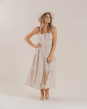 Dragonfly Tiered Maxi Dress || Shell