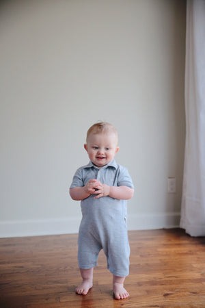 Pale Blue Cotton Pique Polo Romper