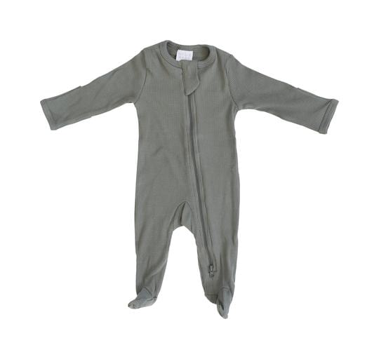 Green Organic Cotton Ribbed Footed Zipper One-piece