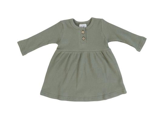 Green Long Sleeve Button Ribbed Organic Cotton Dress