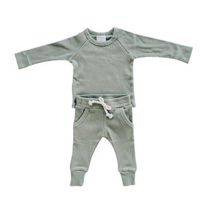 Organic Cotton Green Ribbed Two-piece Pocket Set