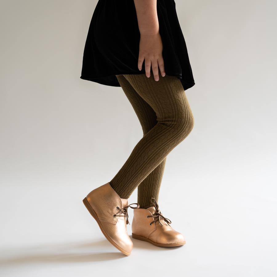 Cable Knit Tights - Olive