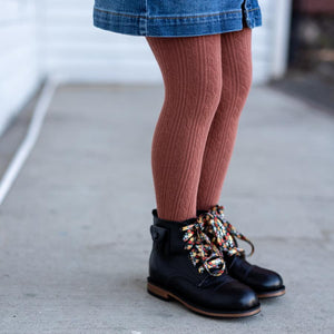 Cable Knit Tights - Rust