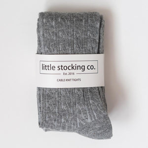 Cable Knit Tights - Gray
