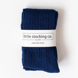 Cable Knit Tights - Navy Blue