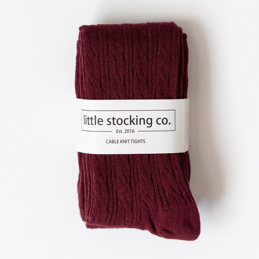 Cable Knit Tights - Wine