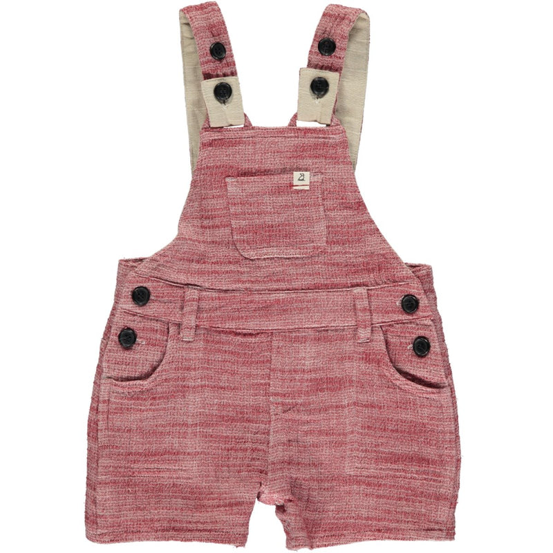 Red Gauze Woven Shortie Overalls