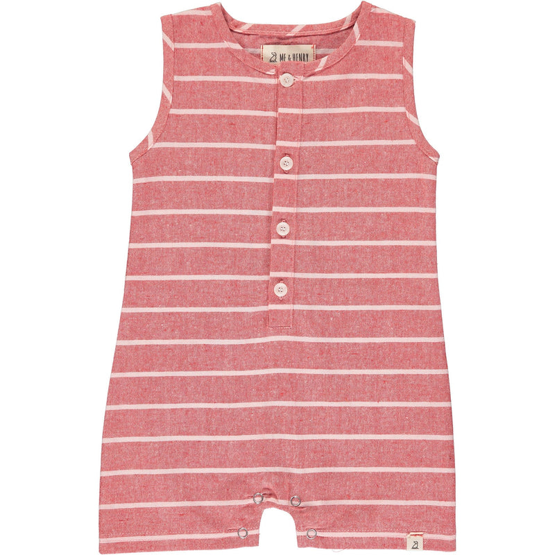 Red/Cream Stripe Playsuit