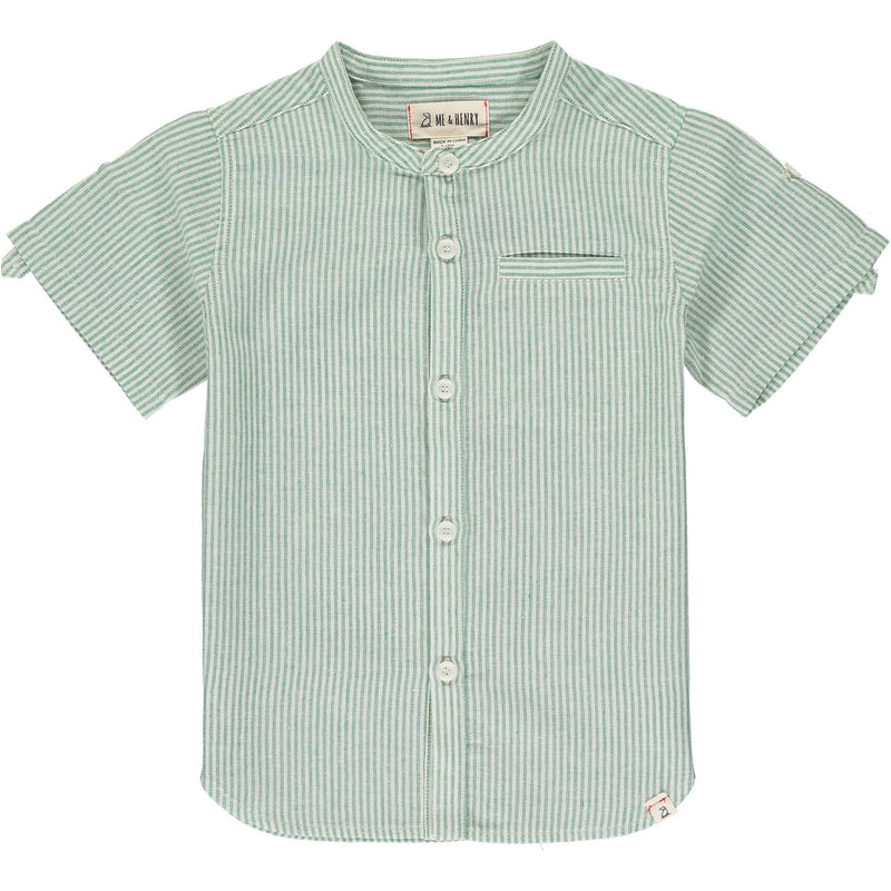 Green/Cream Stripe Round Neck Shirt