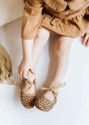 Leather Boho Mary Janes | Color 'Sand' | Soft Sole