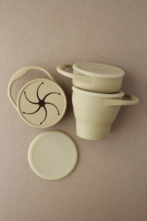 Foldable Silicone Snack Cup - Khaki
