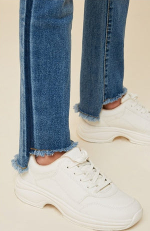 Stone Wash Frayed Ankle Jeans