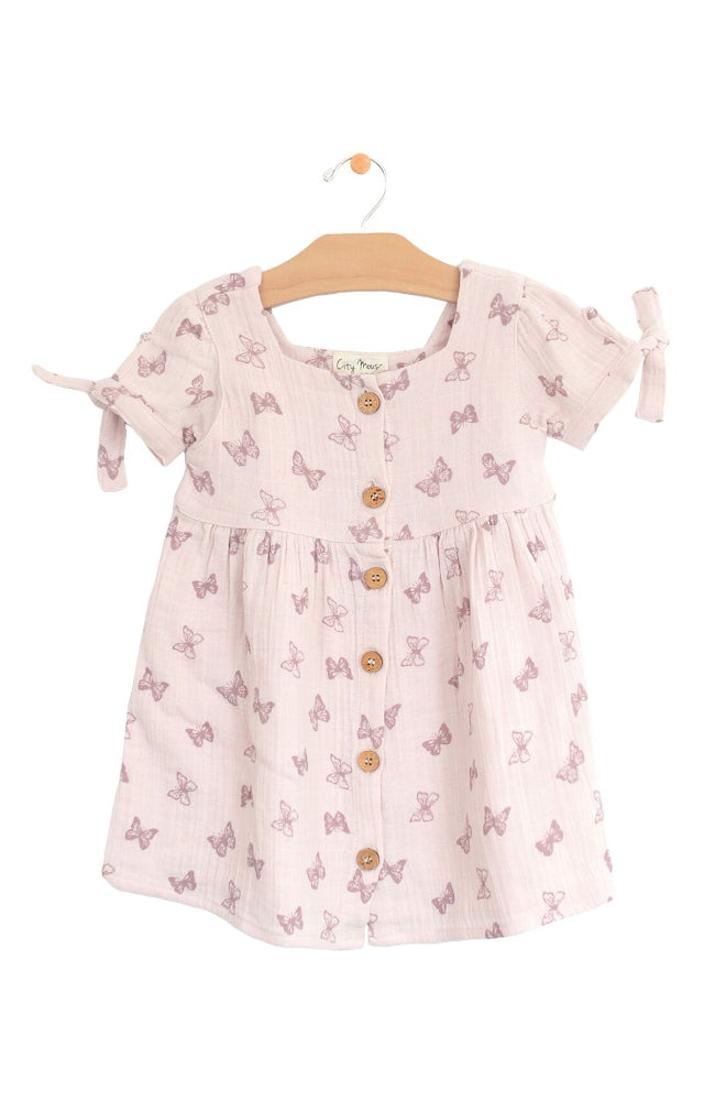 Butterflies Square Neck Dress