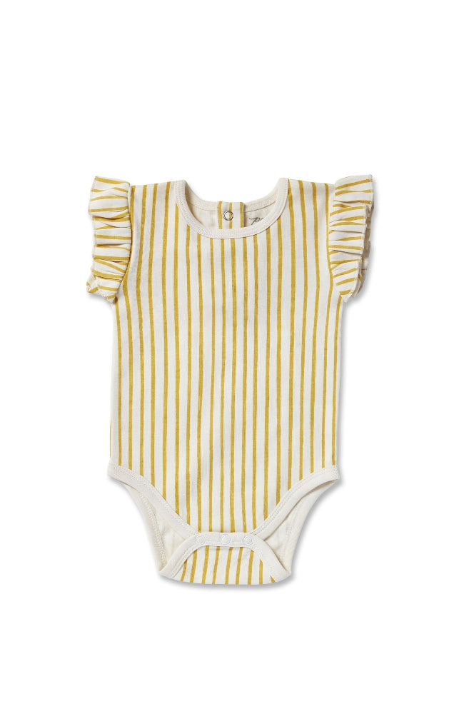 Stripes Away w/Ruffle One Piece - Marigold